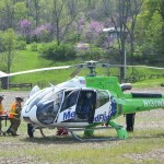 The motorcyclist is loaded onto MedFlight for transport to OSU (photo courtesy the Bellefontaine Examiner)