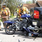 The motorcycle, post-crash (photo courtesy the Bellefontaine Examiner)